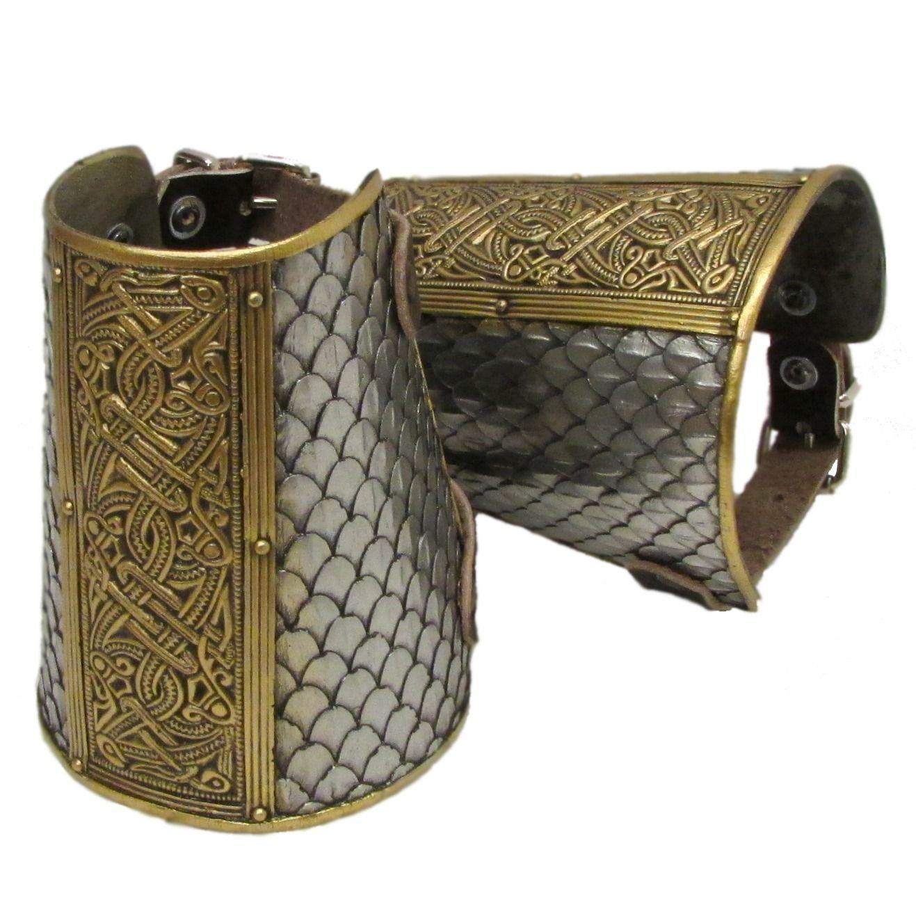 Wyrmwick scaled celtic larp cuffs