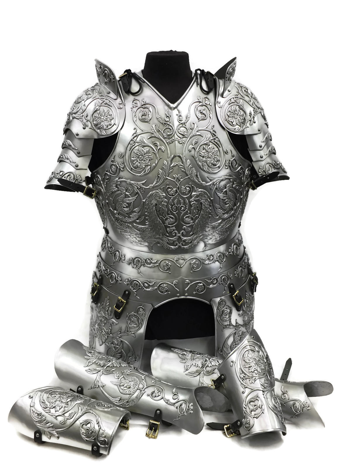 Negroli embossed larp armour set steel finish
