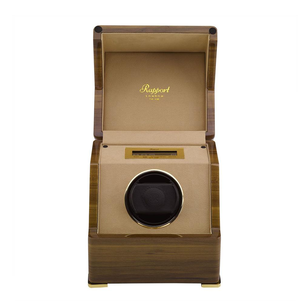 Rapport Perpetua III Single Watch Winder, Touch Screen - Walnut Finish