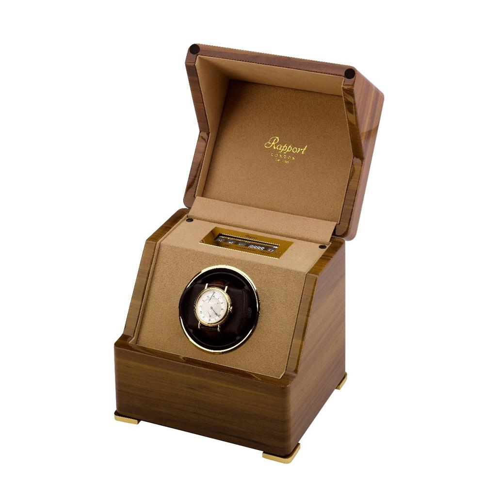 Rapport Perpetua III Single Watch Winder, Touch Screen in a Walnut Finish