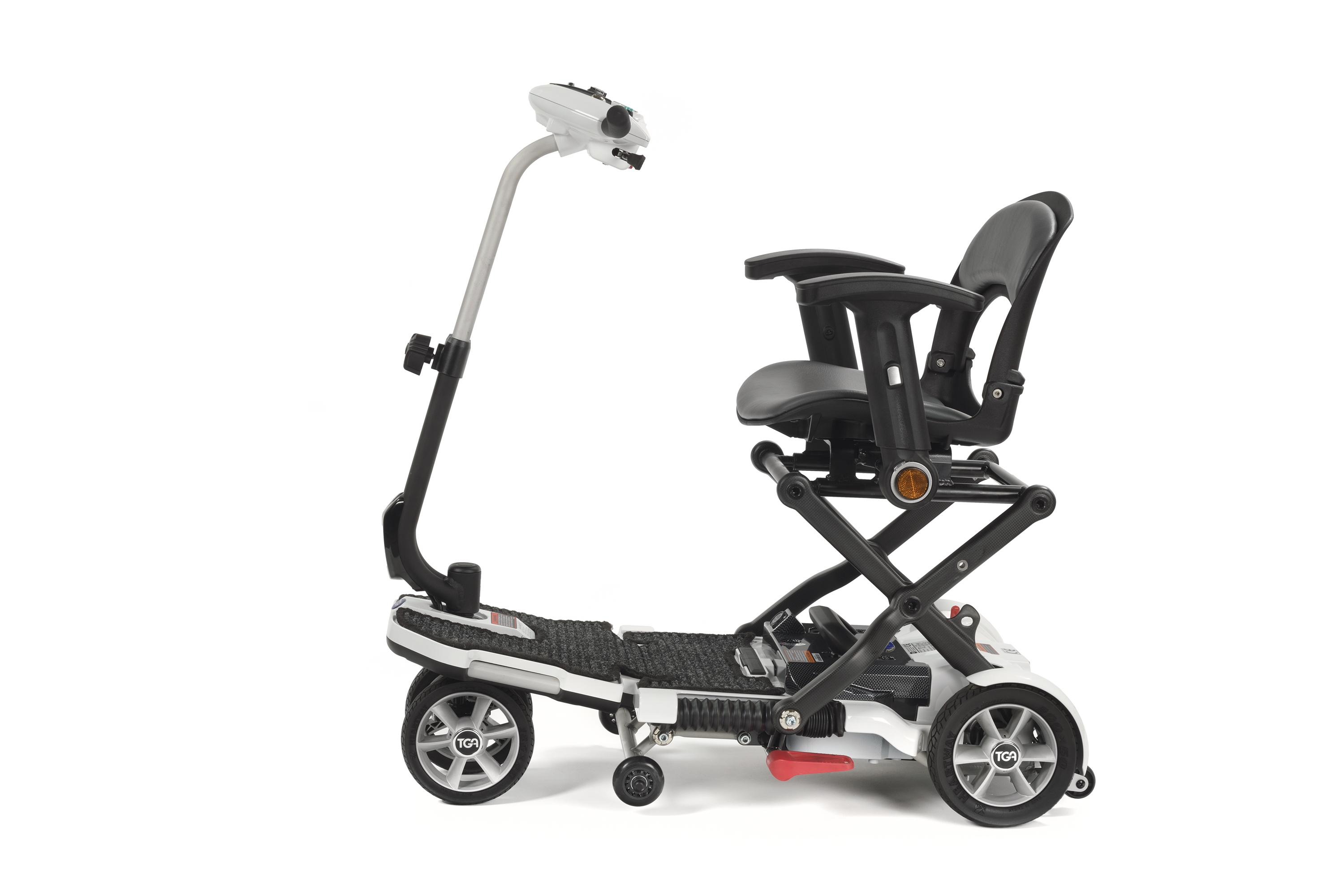side view of our white tea minimo mobility scooter