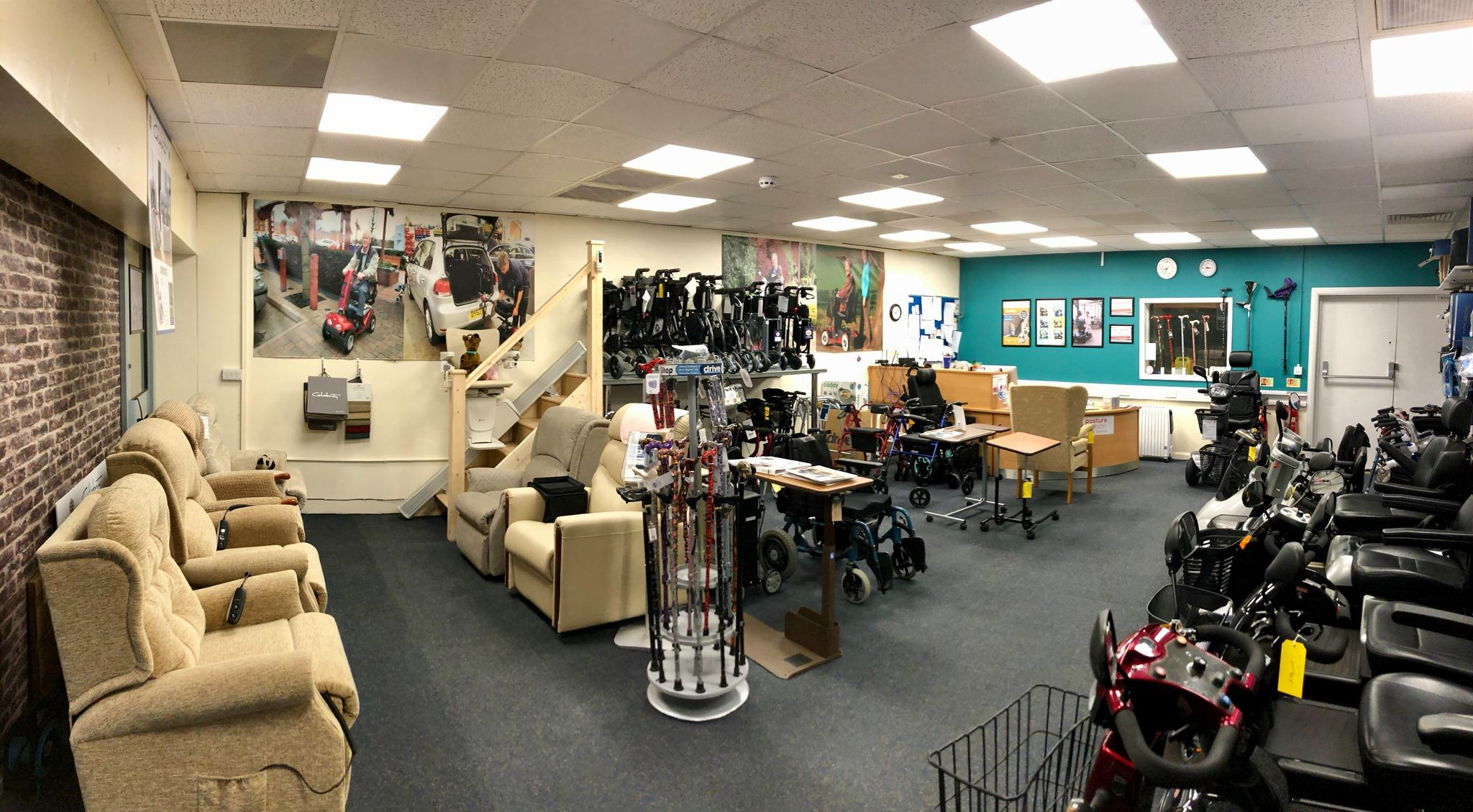 Mobility Shop. Mobility Scooters, Walking Sticks, Rise Recline Chairs, Wheelchairs and Rollators
