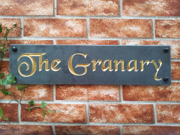 Slate house plaque with The Granary in gold inlay 500mm x 125mm
