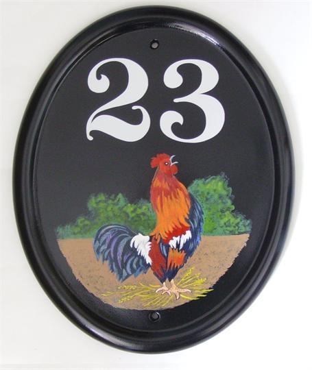 Cockerel crowing house number
