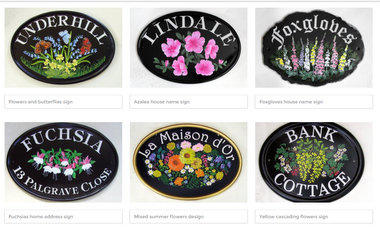 Hand Painted Flower Motif Signs