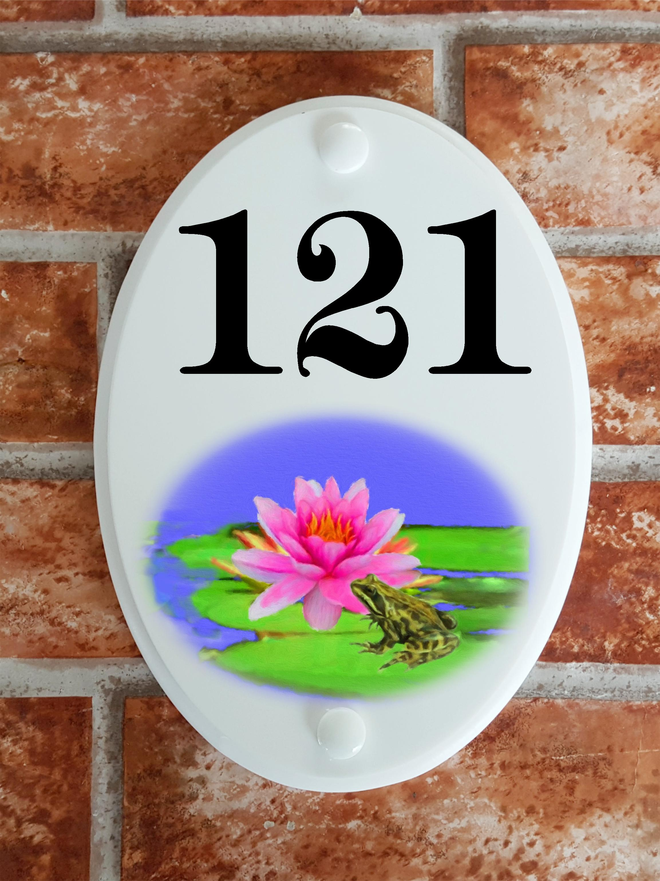 Frog on lily pad house number sign