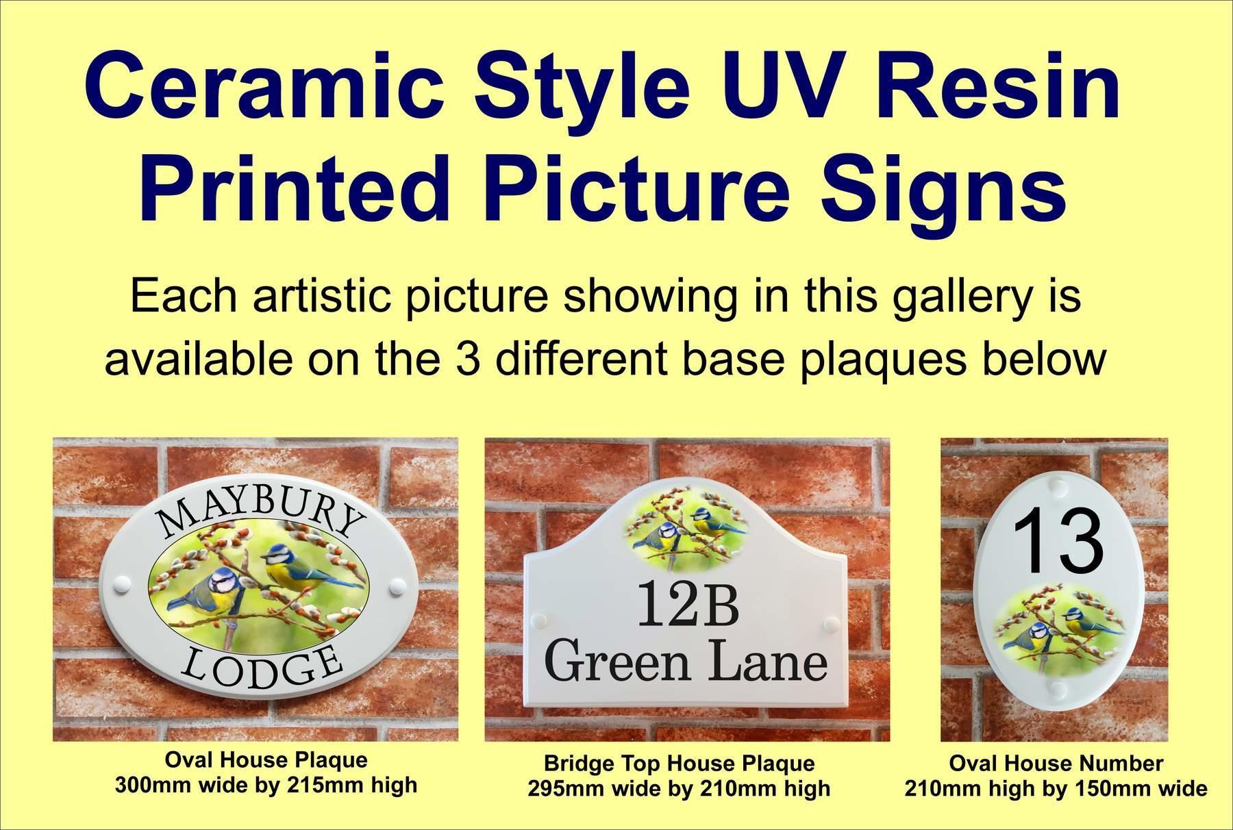 White Round Ceramic House Sign Hedgehog Motif