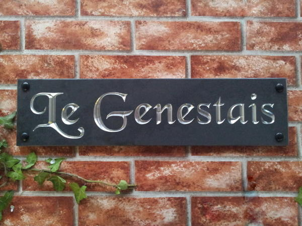 Slate sign with chromed silver inlay 500mm x 125mm