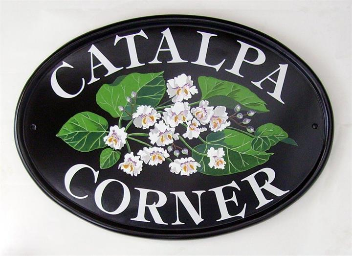 Catalpa flowers house plaque