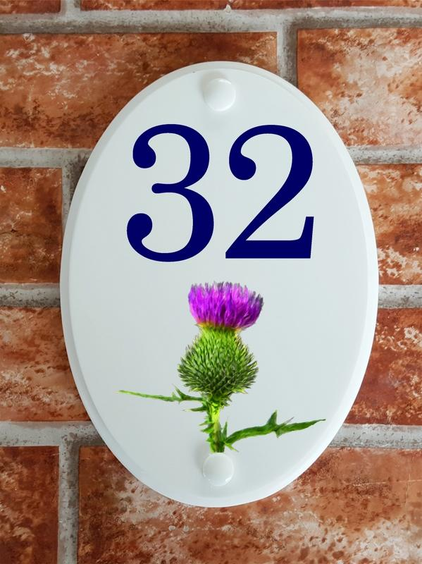 Scottish thistle motif house number sign
