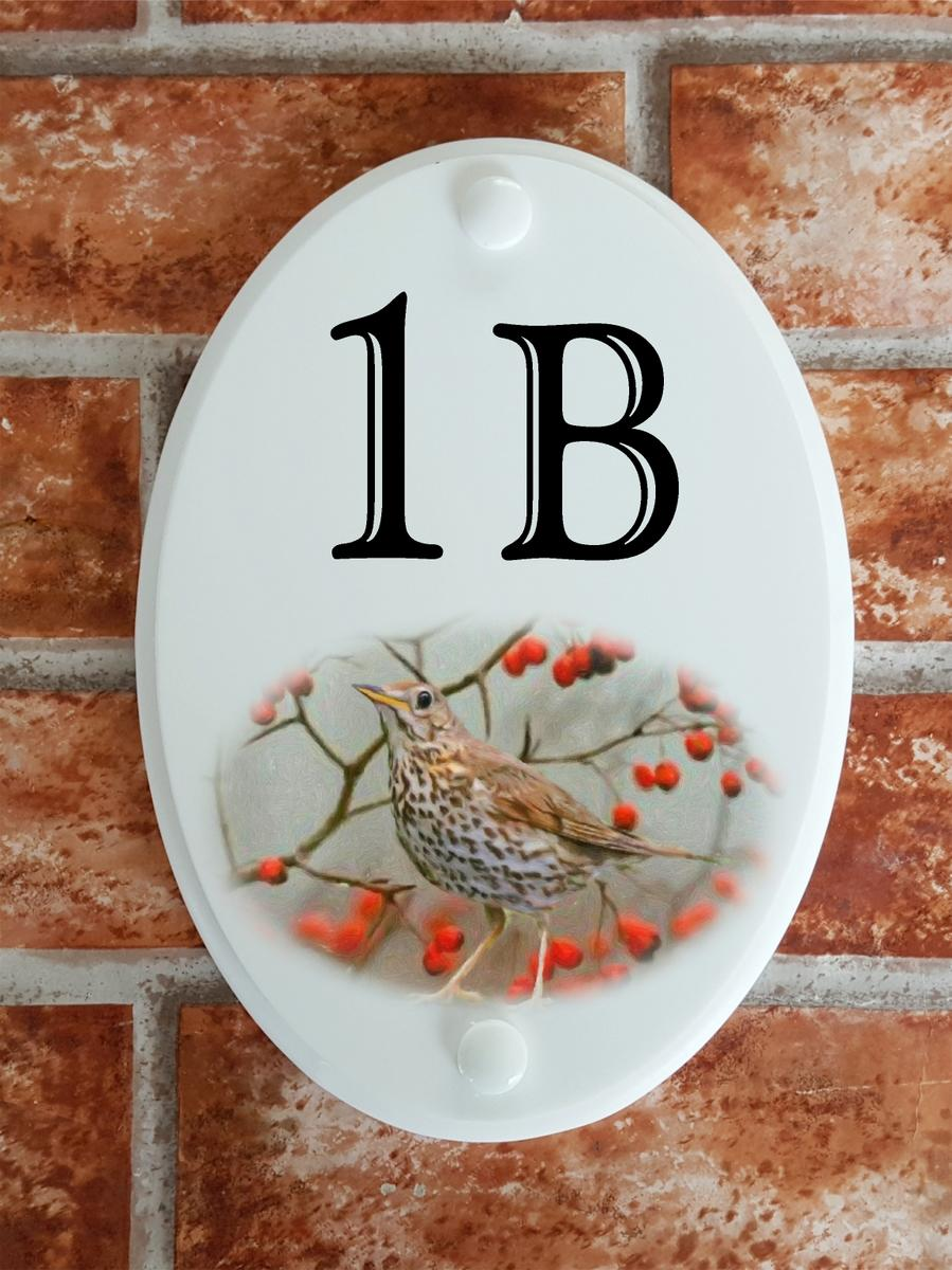 House number plate displaying a song thrush and hawthorn