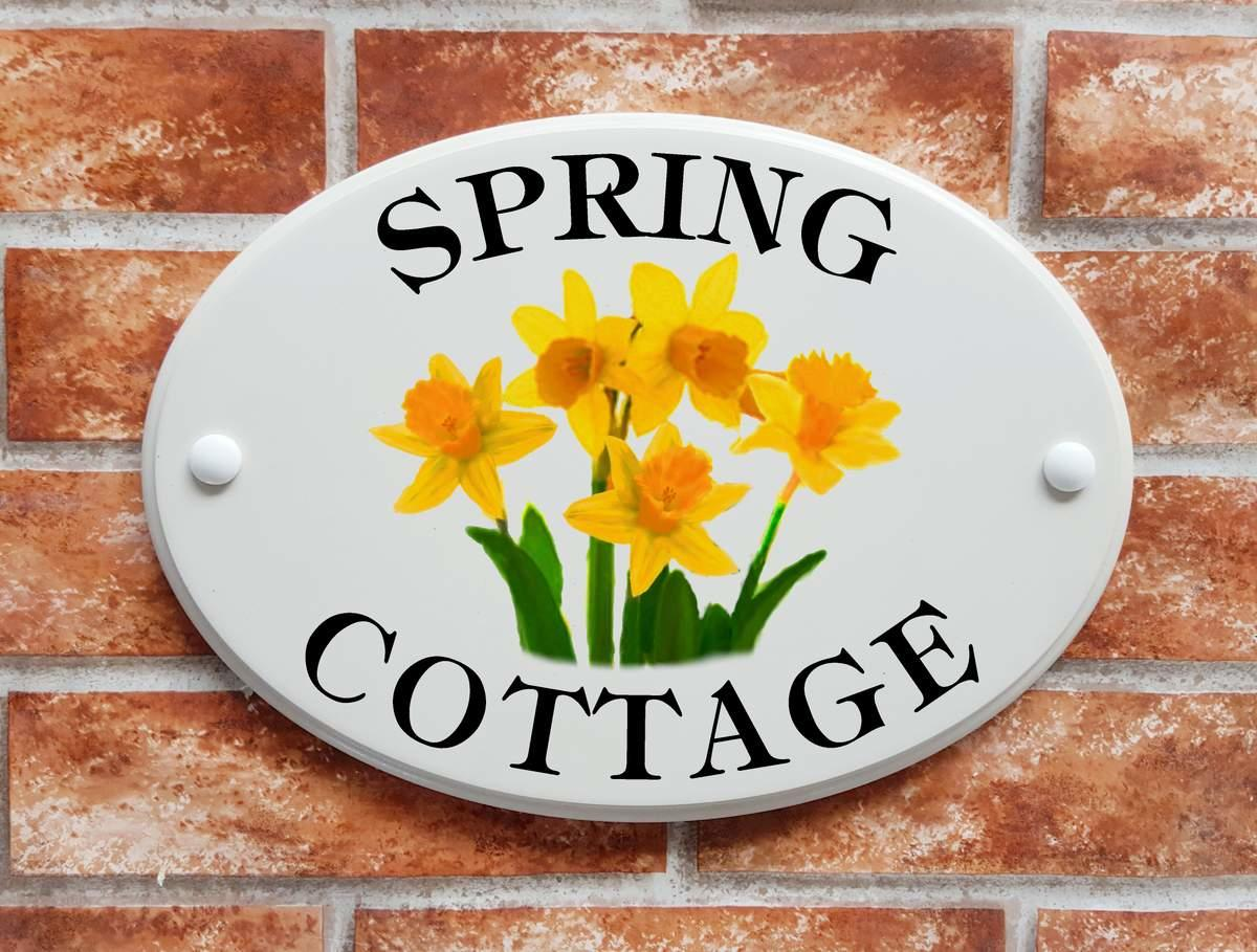 House name plate with Daffodils (Code 066)
