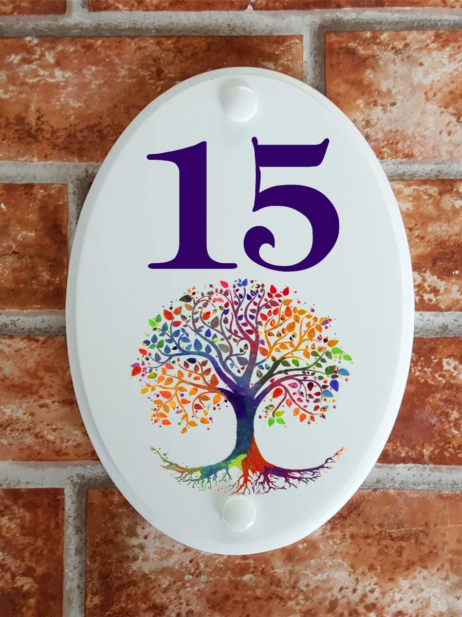 House number plate with tree of life symbol