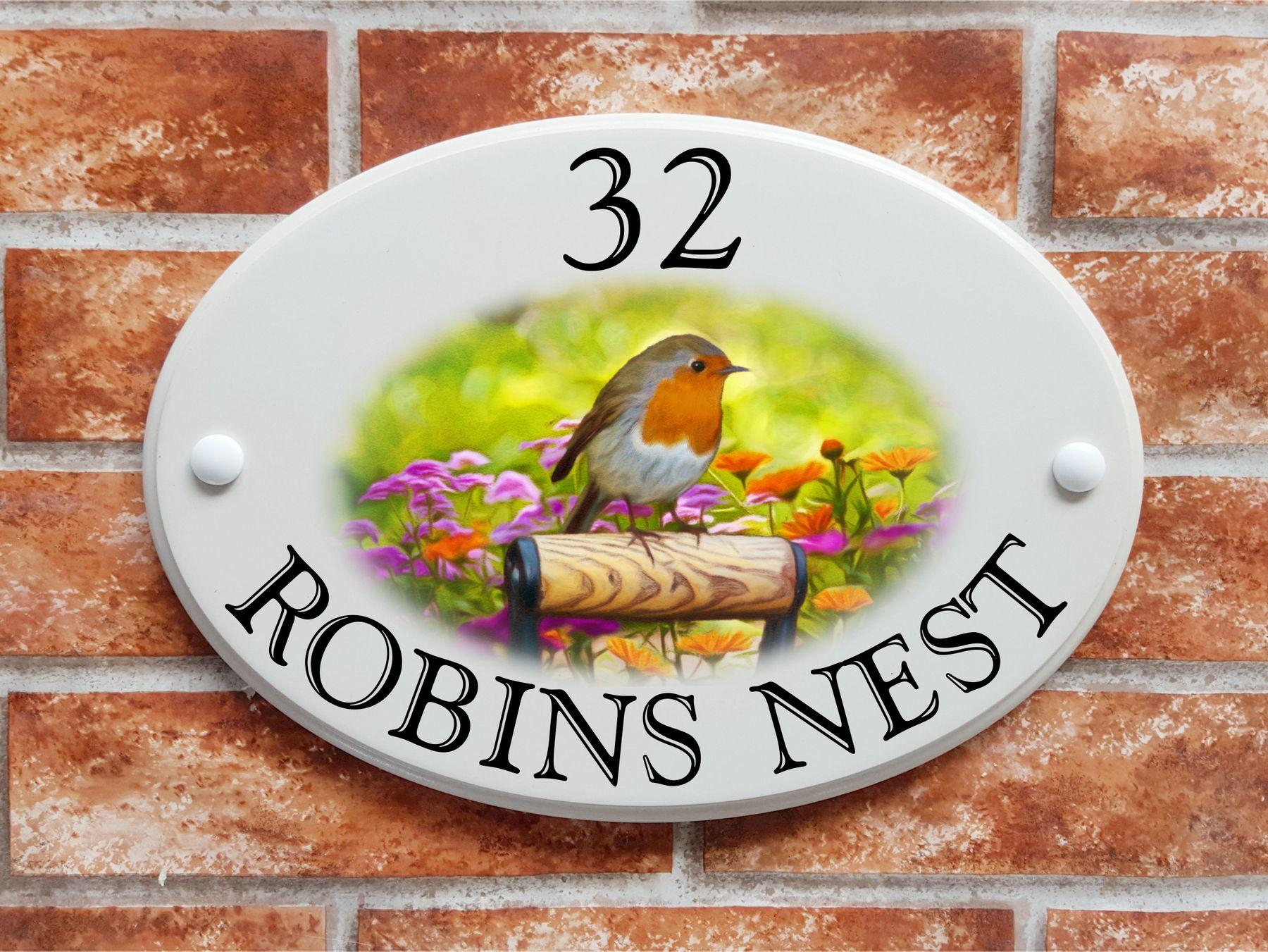House sign with robin art picture