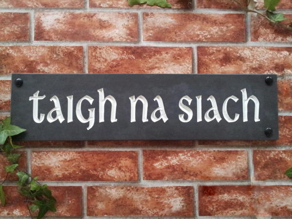 Slate house sign with white inlay 500mm x 125mm