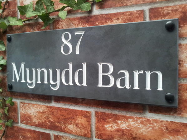 Address plaque with white inlay