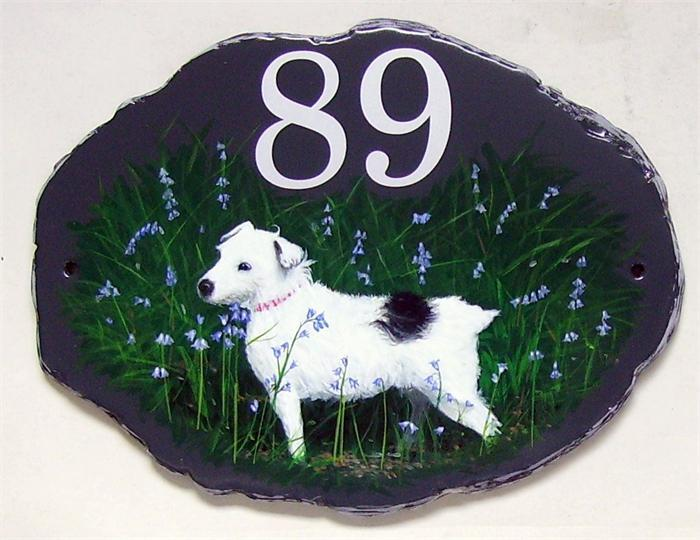Jack Russel portrait house plaque