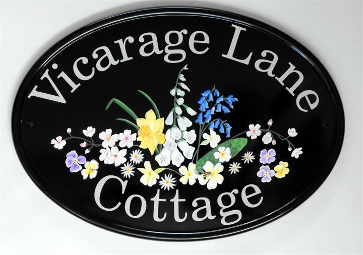 Mixed garden flowers sign