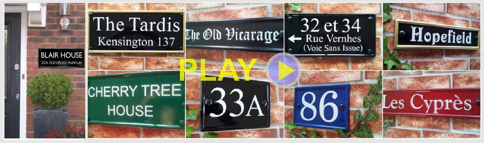 Rectangular house name and number signs