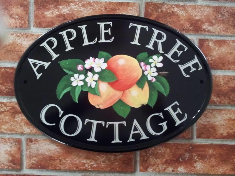hand painted house sign with apples pictorial
