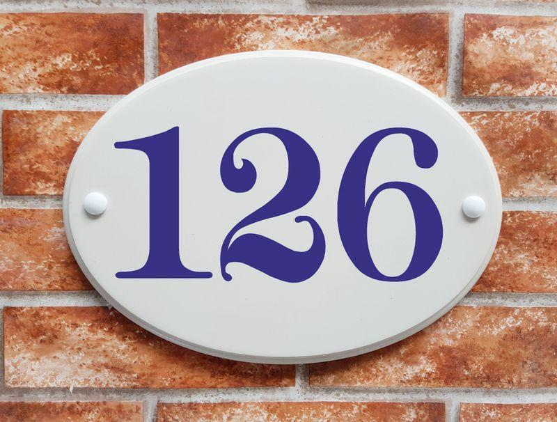 Large oval house number