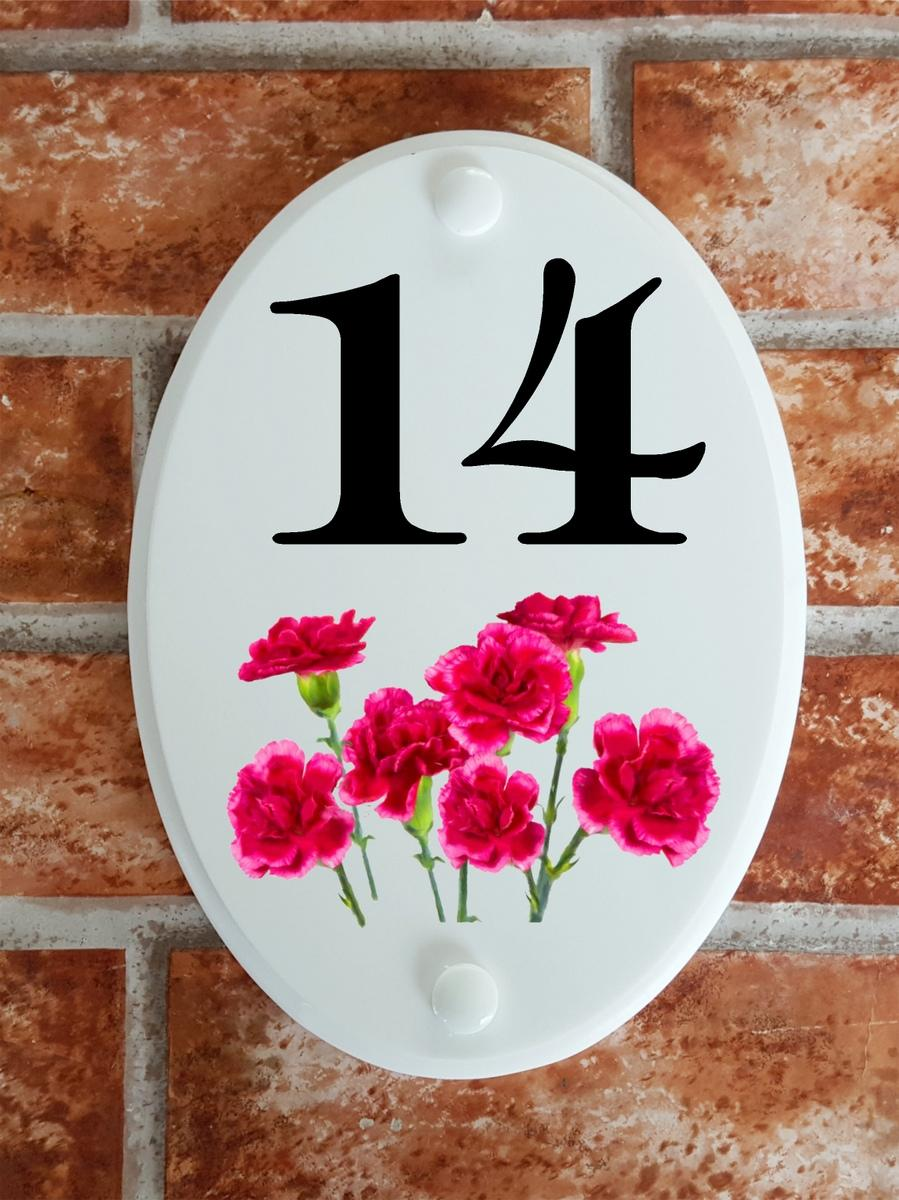 House number plate with pink carnations motif painting