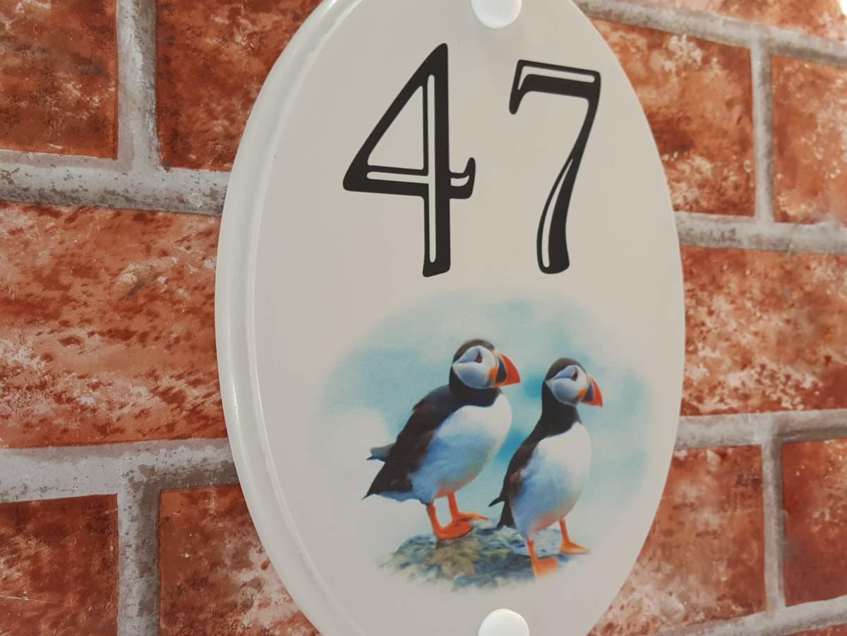 Puffins picture house number plaque