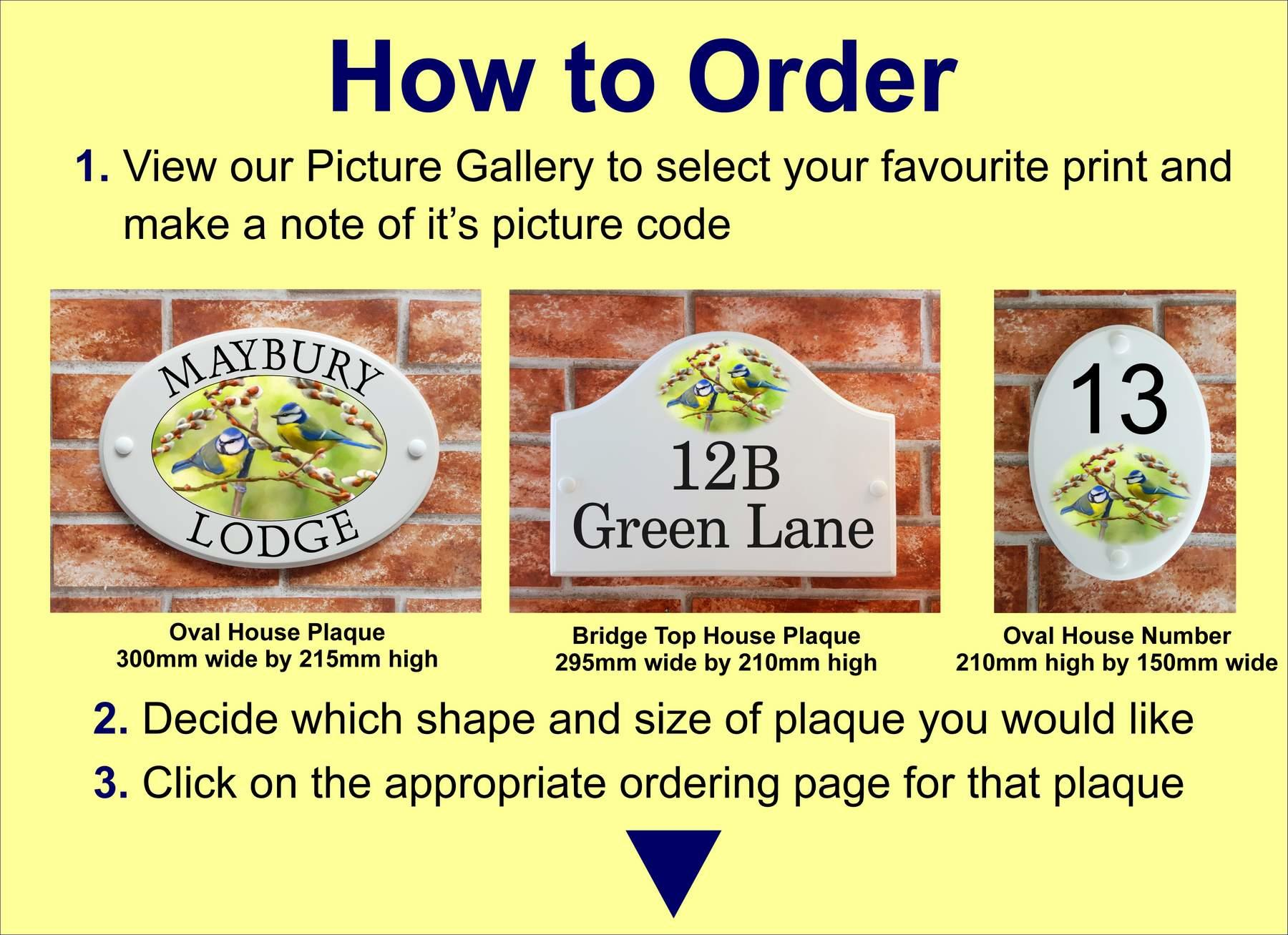Instuctions on how to order a picture house sign