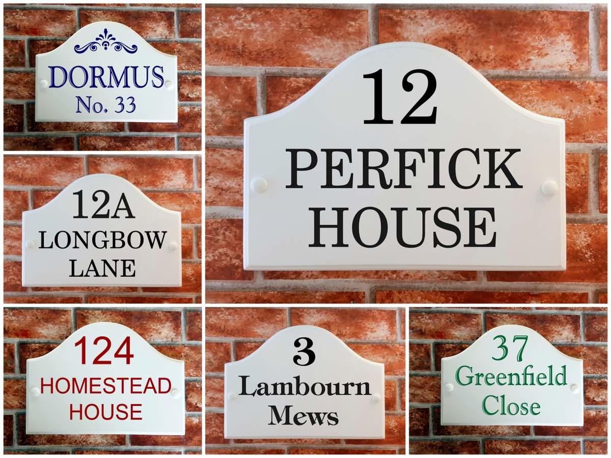 White bridge style house plaques