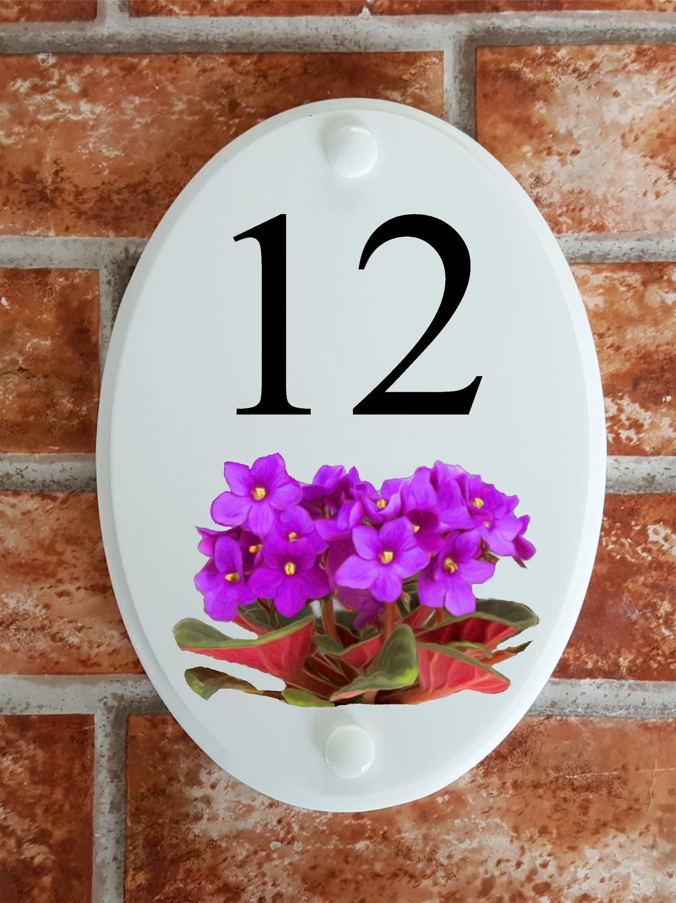 floral house number sign with african violets motif
