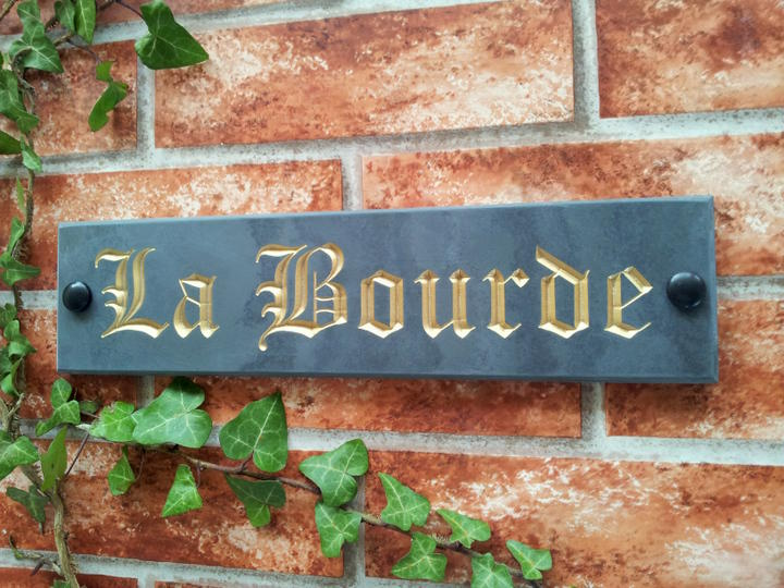 Slate house name with gold inlay