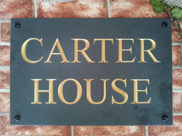 Slate name plaque with gold inlay