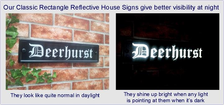 Reflective rectangular house name sign