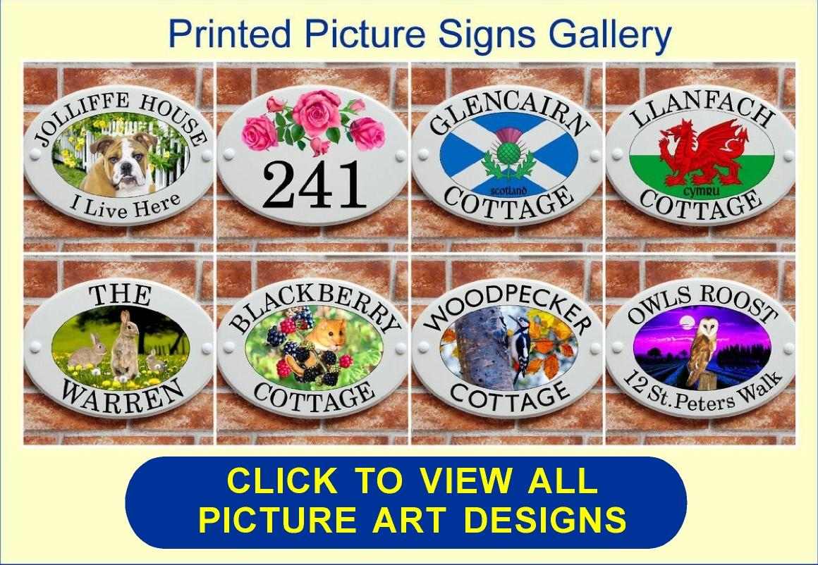 Ceramic style house signs with wildlife, flowers & pet picture motifs