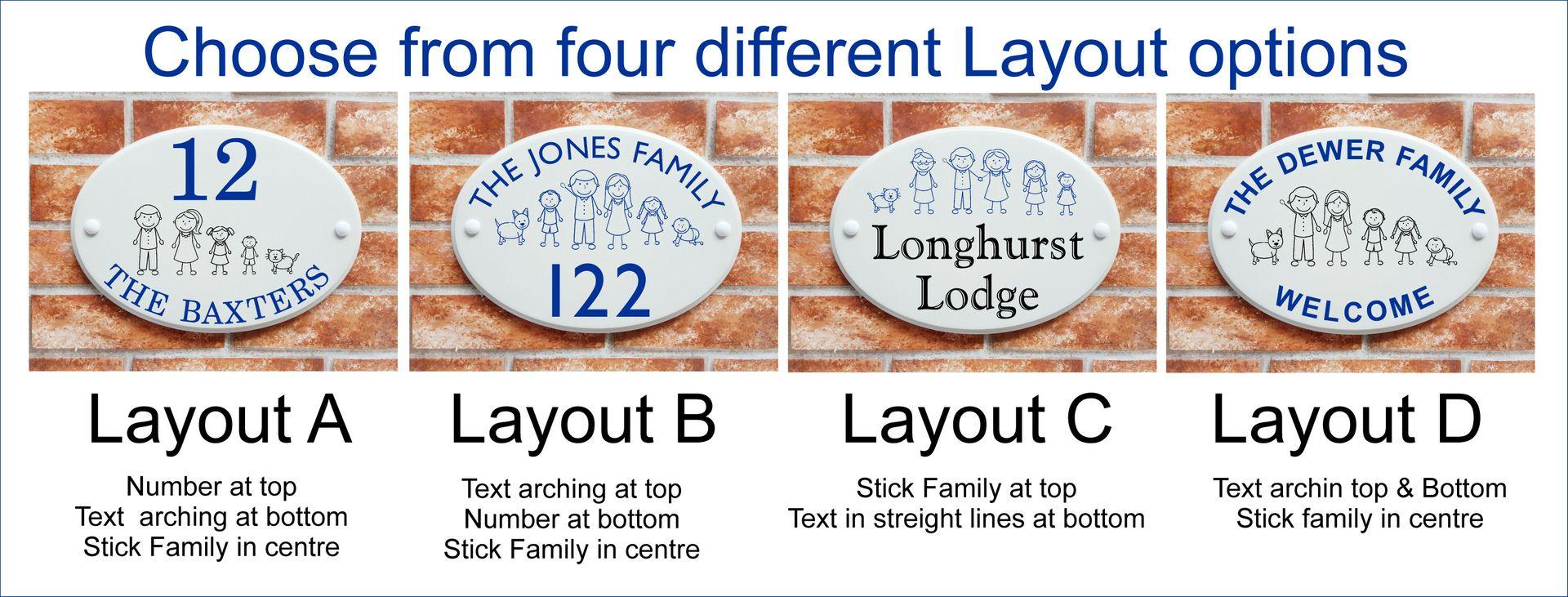 Text layout options for house name and number signs with stick family