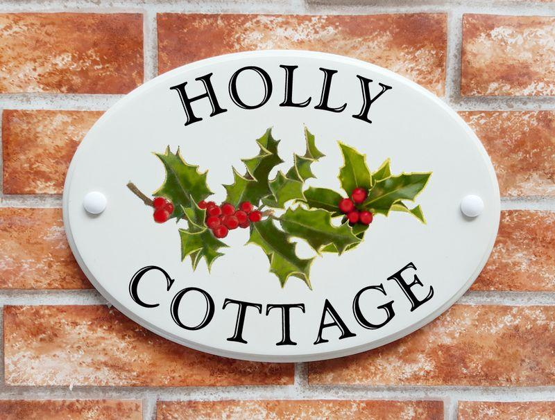 Artistis print house name sign with holly and berries