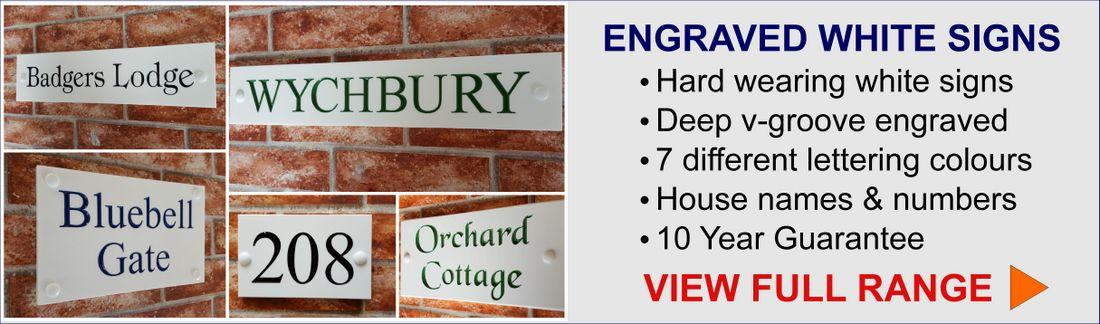 View all white engraved house signs available from Yoursigns Ltd