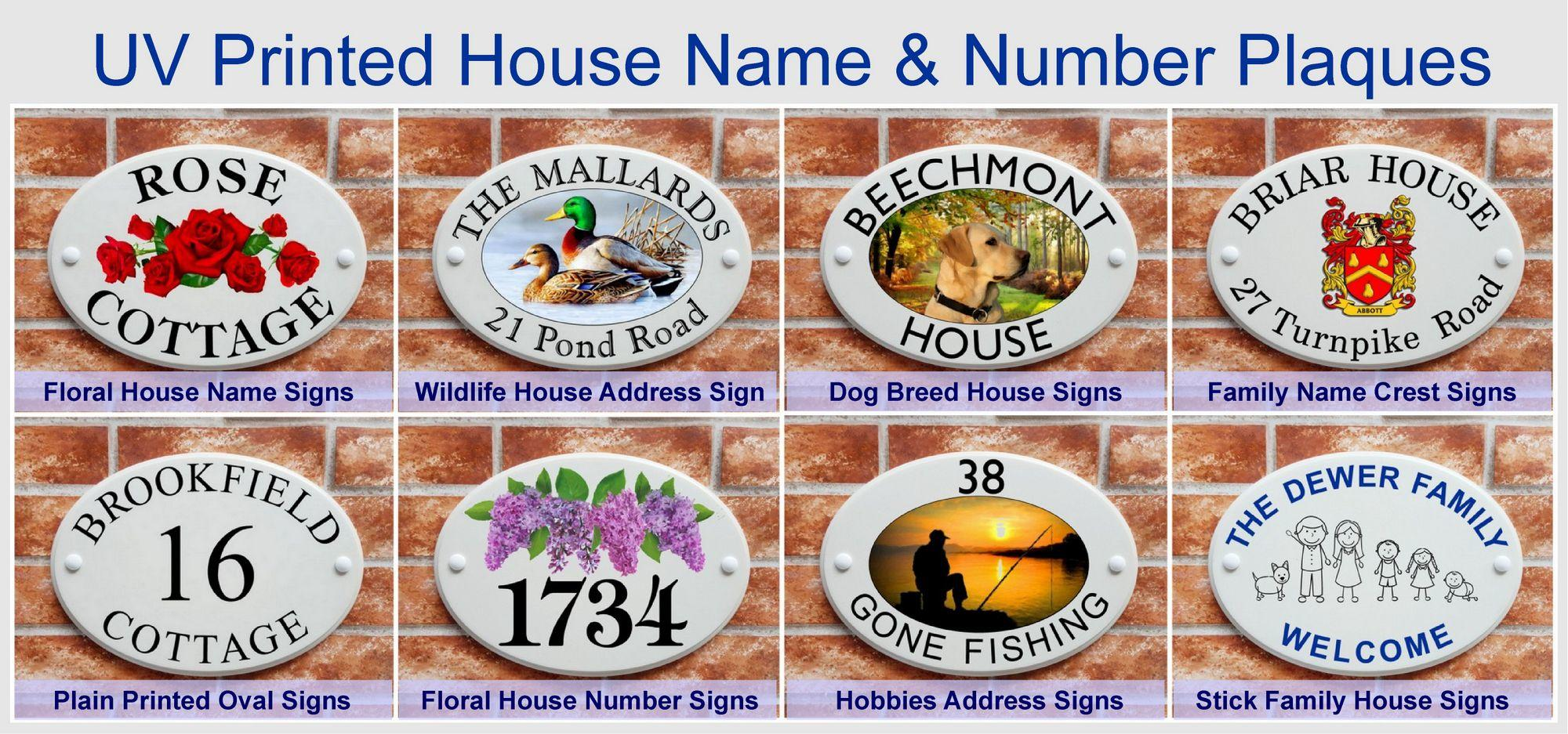 UV ink printed house name & number plaques