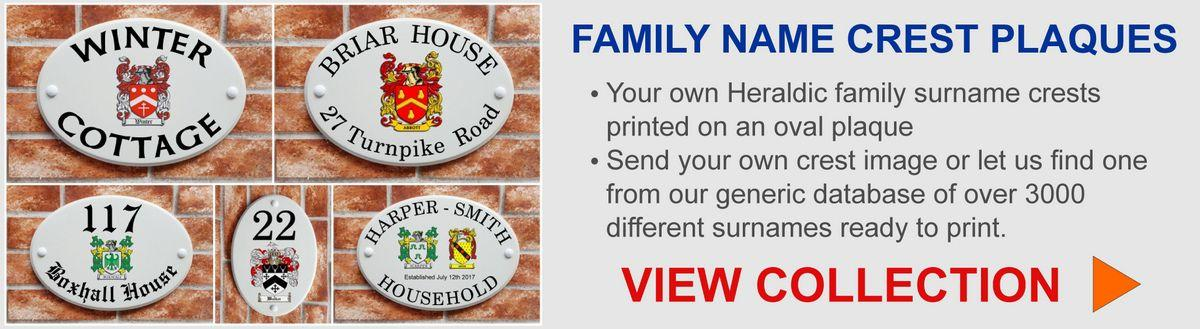Family name crest heraldic prints on signs