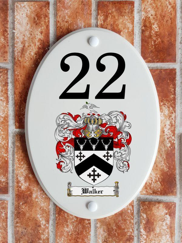 Heraldic Harper family crest house number sign