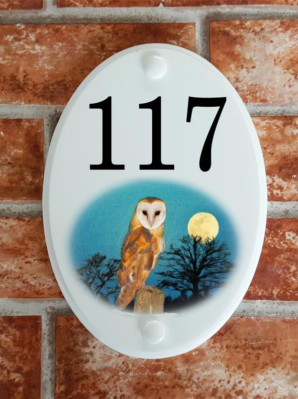 House number sign with barn owl picture motif