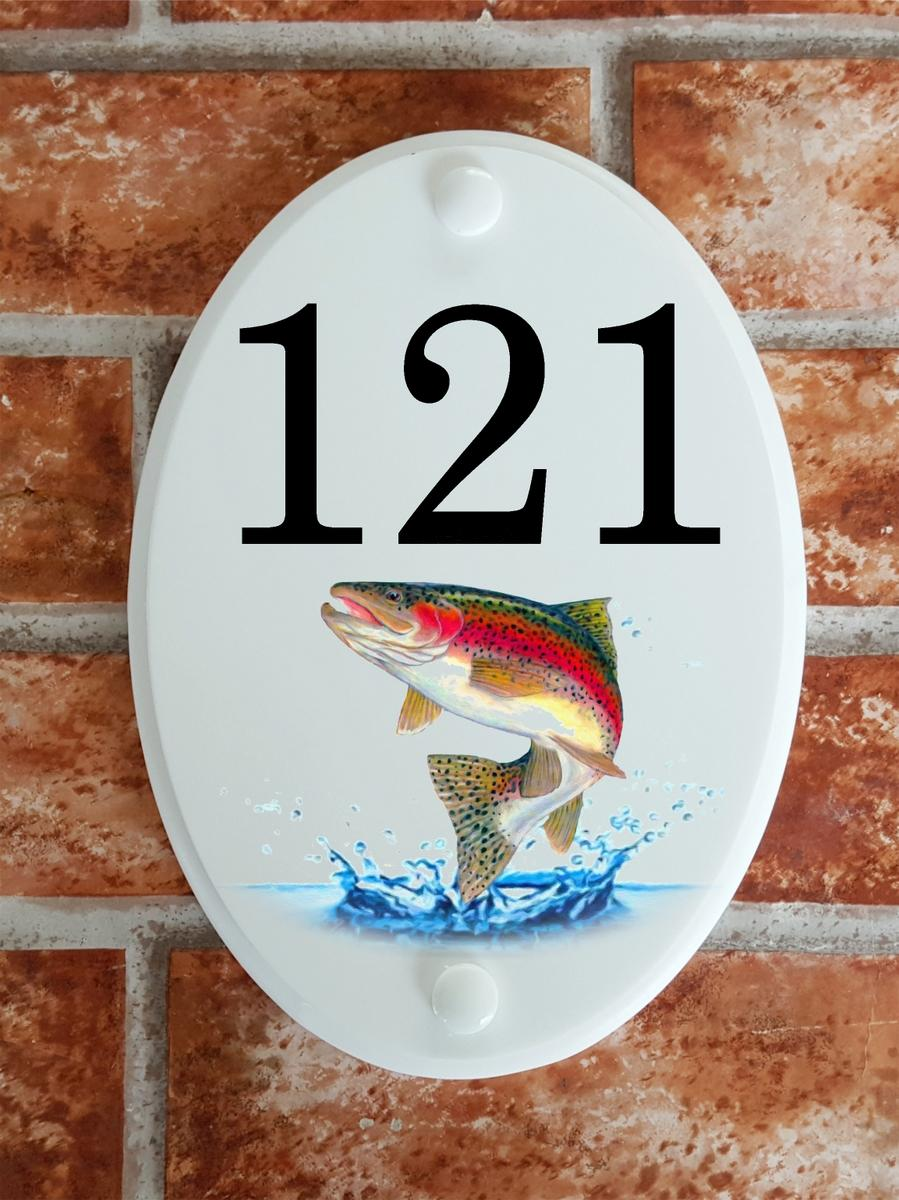 house number sign depicting a leaping rainbow trout