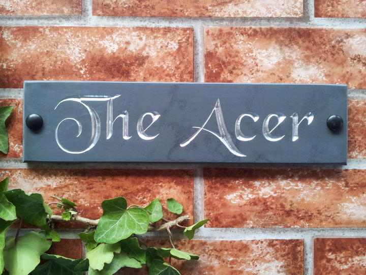 Slate house name with chromed silver inlay
