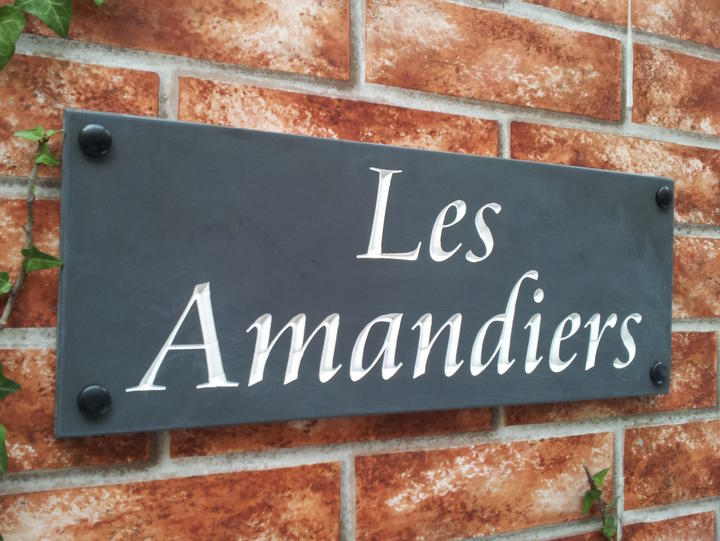 Slate house name plaque with white inlay 400mm x 150mm