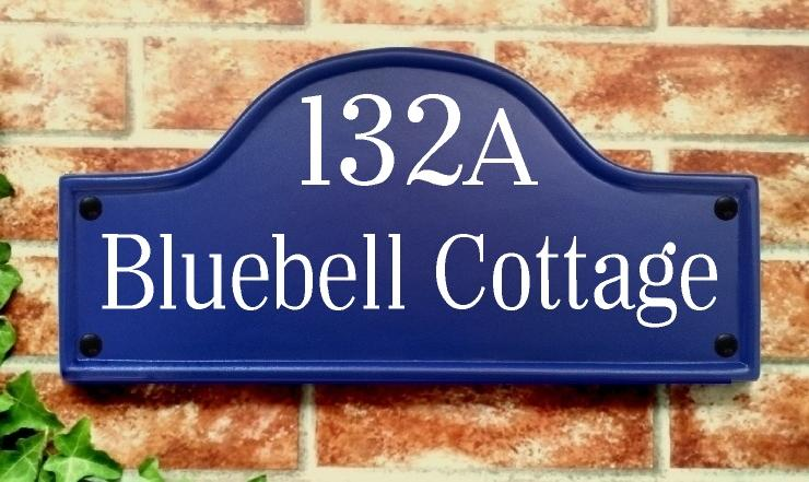 Large bridge top house sign in blue 390mm x 185mm