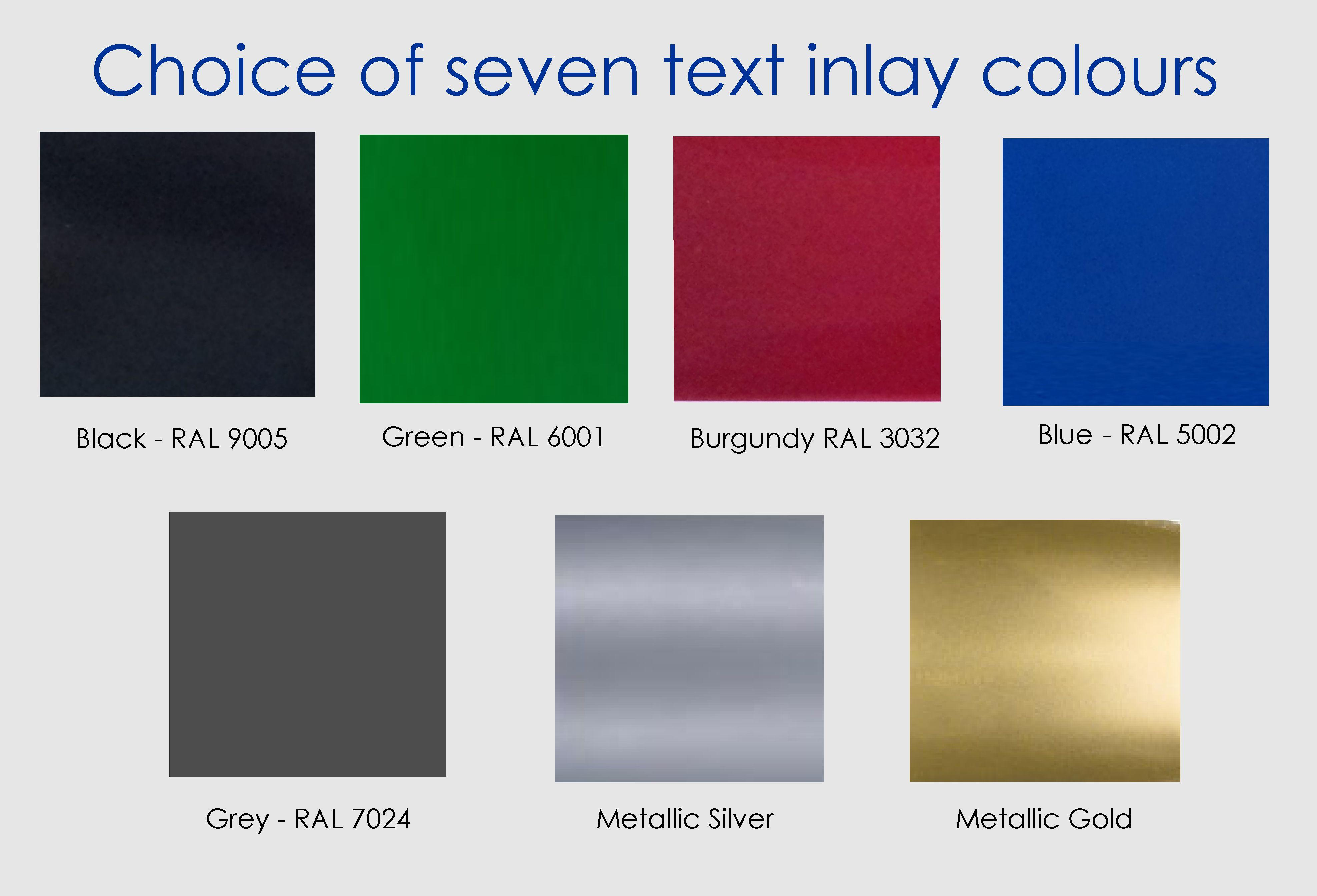 Colour chart showing 7 inlay colours for white house signs