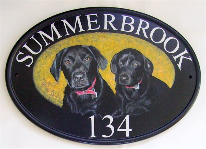 Two black Labradors name plate