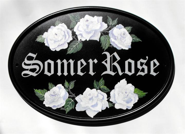 White rose house name plaque