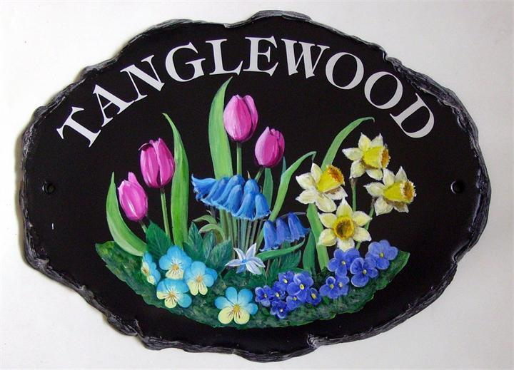 Mixed spring flowers home plaque