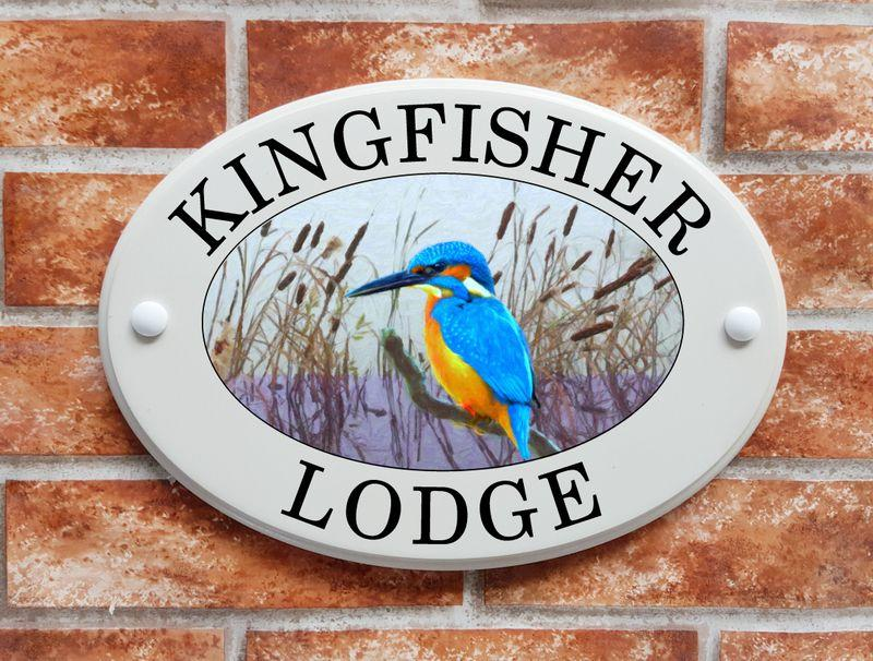 Kingfisher picture house name plaque
